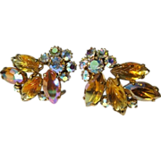 Rhinestone Earrings, Vintage Ear Climber, Fruit Salad
