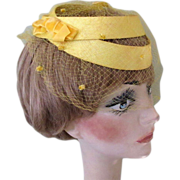 1950's Vintage Hat, Yellow Frame