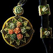 Celluloid Necklace, 1920's Floral, Ribbon & Slides