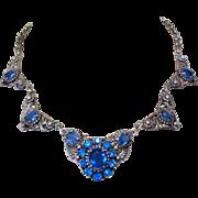 Art Nouveau Necklace, Czech Glass Filigree