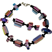 Rainbow Bead Bracelet, Art Glass