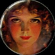 Celluloid Purse Mirror, Vintage Portrait