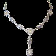 Camphor Glass Necklace, Art Deco Filigree, 4 Panels