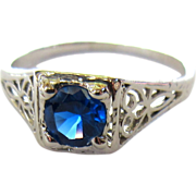 10K Filigree Ring, Synthetic Sapphire, Art Nouveau