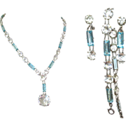 Crystal Necklace, Bracelet, Earrings, Art Deco Vintage Czech