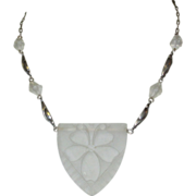Pididdly Links Necklace, Sterling & Art Glass