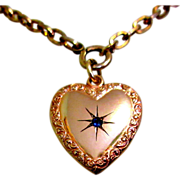 Victorian Puffed Heart, Rose Gold Filled Pendent, Paste Stone