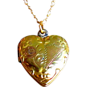 Vintage Locket, Gold Filled Heart, Etched