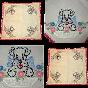 Dog Embroidered Handkerchief, Vintage Scottie