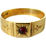 Garnet, Gold Ring, 10K, Ostby Barton Baby Band.