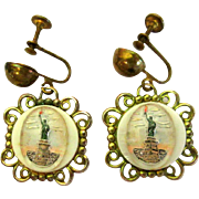Statue of Liberty Vintage Earrings, Reverse Carved & Painted
