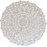 White Crochet Doily, Vintage Lace Round