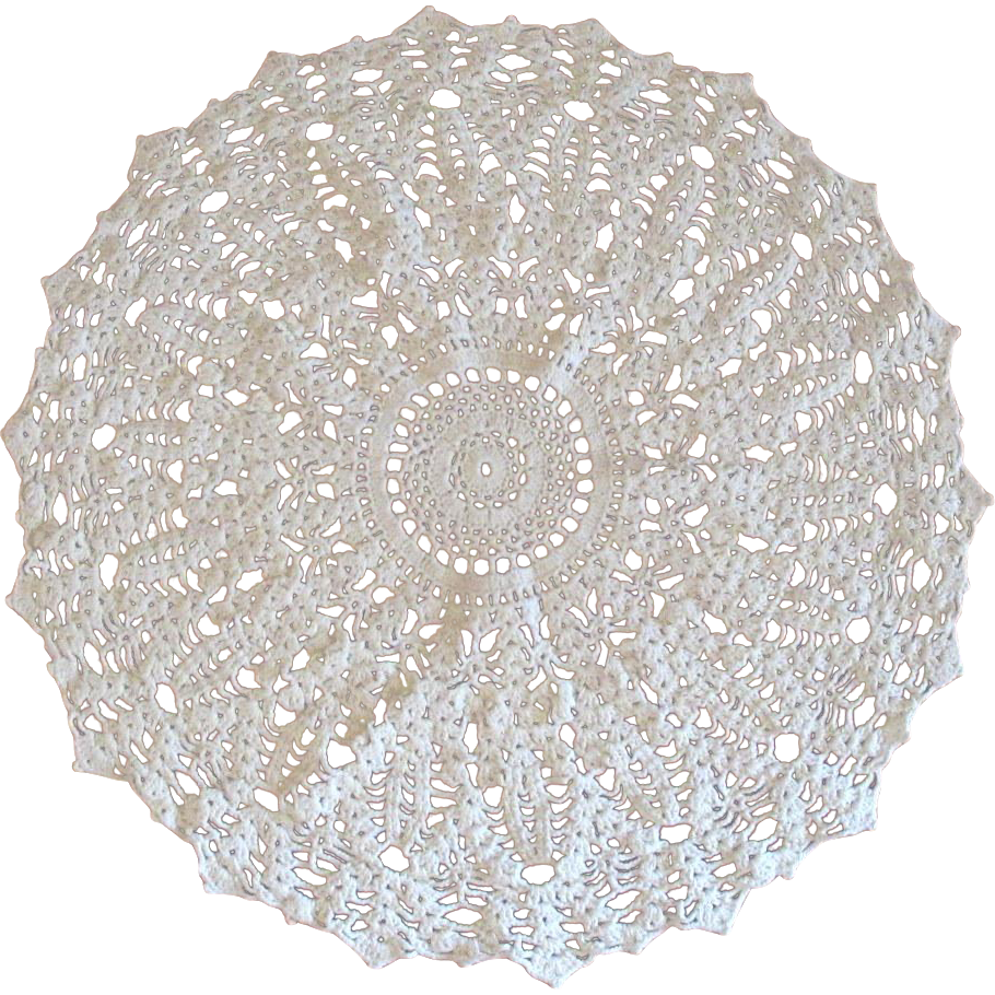White Crochet Doily Vintage Lace Round From