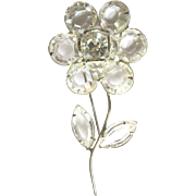 Crystal Flower Brooch, 80's Rhinestone Pin