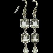 Vintage Crystal Earrings, Clear Rhinestone Drops
