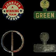 Political Buttons, Johnson, Kerner & Green, Vintage Illinois Pinbacks