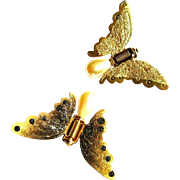 Vintage Hair Clips, 50's Butterfly, Glitter & Glass Pearl