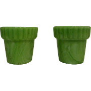 Akro Agate Thumb Pots, 2 Slag Glass Jadite
