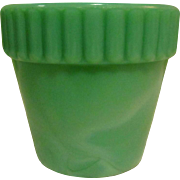 Akro Agate Flower Pot, Jadite Slag Glass