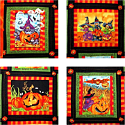 SOLD Halloween Quilt, Twin / Couch Throw, Estate