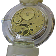 Lucite Watch, 1960's Swiss Mechanical, Clear Band