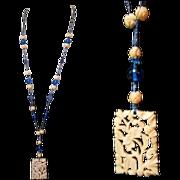 Carved Pendant Necklace, Art Nouveau 1900's