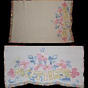 Embroidered Mother Table Runner, Vintage Floral