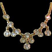 Crystal Festoon Necklace, Bezel Set, Vintage