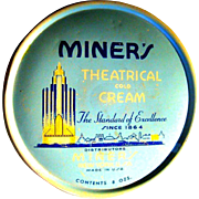 Art Deco Tin, Miner's Theatrical Cold Cream, Vintage 30's