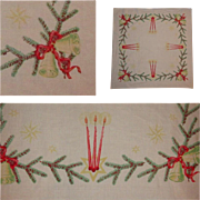 Vintage Christmas Tablecloth, Card Table