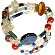 Glass Bead Bracelet, GF Clasp, Vintage 3 Strand
