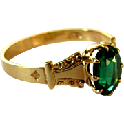 Rose Gold Ring, Victorian 10K, Synthetic Emerald