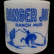 Ranger Joe Mug, Coffee Cup, Vintage 1950's Glass
