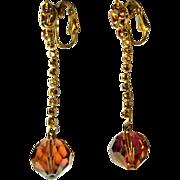 Rhinestone / Crystal Earrings, Vintage 60's