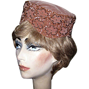 SALE Velvet Pill Box Hat, Beaded & Sequins, Vintage 1950's
