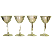 Art Deco Cocktail Glasses, Set of 4 Chrome Goblets