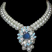 1950's Rhinestone Necklace, Glass Pearl Strands