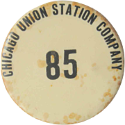 1915 Chicago Union Station Company Pin Back, Vintage Button