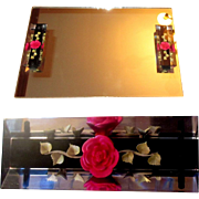 Vintage Mirror Tray, Lucite Reverse Carved Handles, 1950's