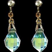 Crystal Drop Earrings, Art Deco Briolette, Dichroic