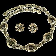 Art Glass Necklace & Earrings, Vintage 1980' Anne Klein