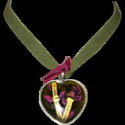 Vintage Heart Necklace, Art Glass