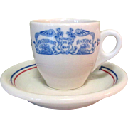 SOLD Antoine's Demitasse Cup & Saucer, 1949 Restaurant China