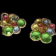 SOLD Crystal Earrings, Bezel Set, Equal Sided, Vintage