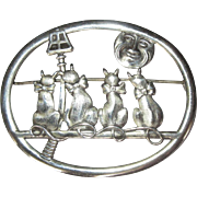 Sterling Cat Pin, Vintage Man in the Moon Brooch, Truart
