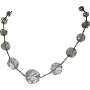 Sterling & Crystal Necklace, 1920's Station Faceted Bead & Chain