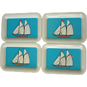 Vintage Tray, Set of 4 Tip Trays, Sailing Ships