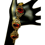 Art Nouveau Bracelet, Filigree & Art Glass