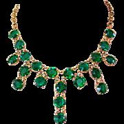 Rhinestone Festoon Necklace, Vintage Emerald Green Drops