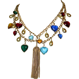 Heart Charm Necklace, 1940's Victorian Revival Festoon